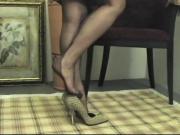Foot Tease in brown stockings # 1