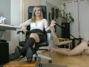 Blonde Femdom Destroying Slave Balls Music By ivvill