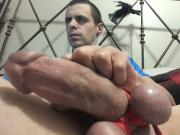 stroking my fat monster cock while balls are tied up