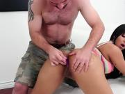 TEENGONZO Venezualan Rose Monroe ass fucked on the couch