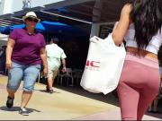 Candid voyeur incredible ass spandex shopping walking tight