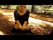 Blonde pees in the woods