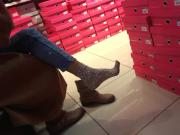 cute Gf's sock tease, boot shopping