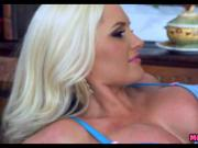 Horny Blonde Cougar Chugs a Young Cock