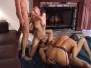 British MILF Nici Stirling in a FFMM foursome in stockings