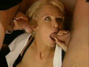 German woman fits two in her mouth (double blowjob)