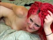 Redhead dreadlock cutey Daisy deep throat blowjob facial