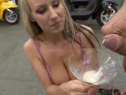 slut drinks 5 loads from glass