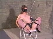 Ball-gagged self bondage with nipple weights