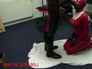 Spanked and throat fucked rubber doll