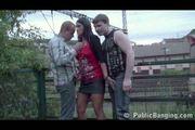 Public sex - public threesome at a train station