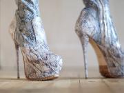 High heels python boots