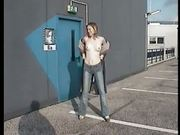 German girl flashing tits and pussy at public car park