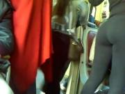 ass spandex in the subway