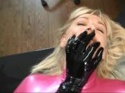 Pink latex catsuit