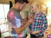 Petite blonde babe Charlyse Angel throatfucked by stepbro