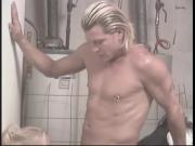 Horny blonde sucks cock in laundry room