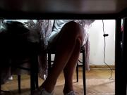 Turkish young girl hot legs under the table