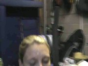 Wife receieving massive facial in the garage