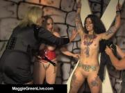 Mistress Maggie Green & 2 GFs Whip & Pleasure Tattooed Slave