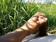 WANK AND CUM IN A FIELD