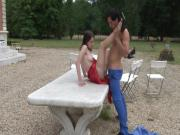 Naughty young french brunette hard sodomized by the gardener