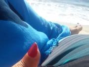 Handjob with cum shot at the beach