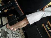 Lady in pantyhose&white dress