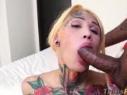 Blonde tranny with sweet tattoos pounded by hung stallion