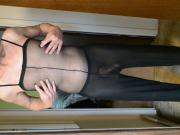 Hard Cock in See Through and Full Body Pantyhose