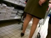 Slow motion Two nice women with high heels and pantyhose