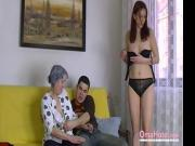 OmaHoteL Naked Couple and Granny Toys Threesome