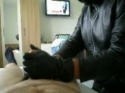 Leather gloved Bi Handjob