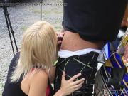 Blonde slut fuckecd hard on my motorcycle