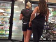 latin college girls in frozen aisle