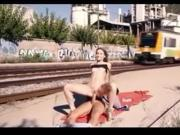 Girl fucks at the railway tracks