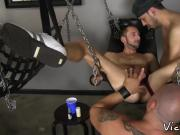 Tight stud asshole penetrated raw in sex swing orgy