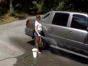 Car wash in shiny pantyhose