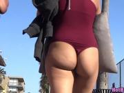 Round Big ass small thong milf beach voyeur bikini spy cam