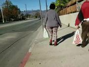 Thick granny walking with husband
