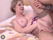 Old but very hot mom fucks strong boy