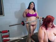 Eliza and Alexxxis Allure lifting heavy weights