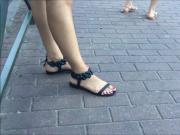Nice Candid Feet At The Bus Stop