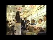 Japanese gurl showing buttcrack on bus