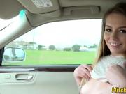 Pretty teen loves to get her wet pussy fuck inside the car
