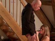 Blonde loves sucking guys dong and sliding her panties to one side to welcome it inside