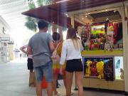 Candid voyeur shopping in tight shorts for lingerie