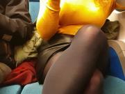Candid pantyhose legs on train