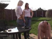 2 beautiful Mistresses humiliates a poor slave with no mercy