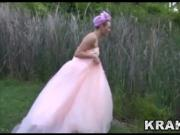 Hot submissive bride in BDSM outdoor video